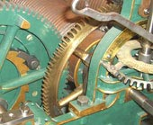 Old tower clock gear mechanism